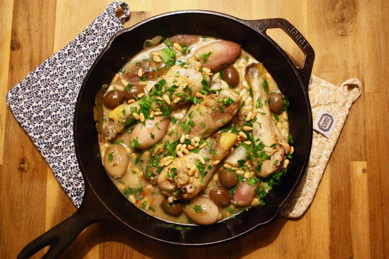 Chicken, Green Olives, Pine Nuts and Garlic