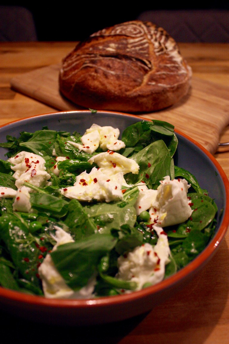Peas, Spinach and Torn Mozzerella